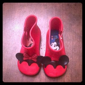 Disney Toddler Girl's  red ankle rain boots
